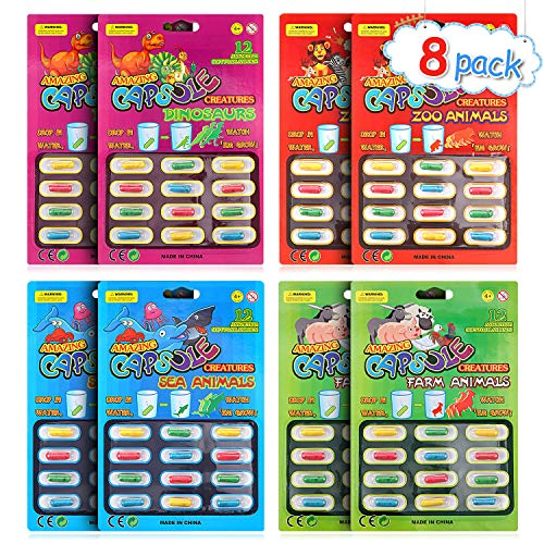 Gejoy 8 Packs Magic Grow Capsules Growing in Water Animals Toys Dinosaur Sea Creature Capsules Party Cognition Toys