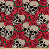 ABAKUHAUS Rose Stoff als Meterware, Schädel rote Blüten