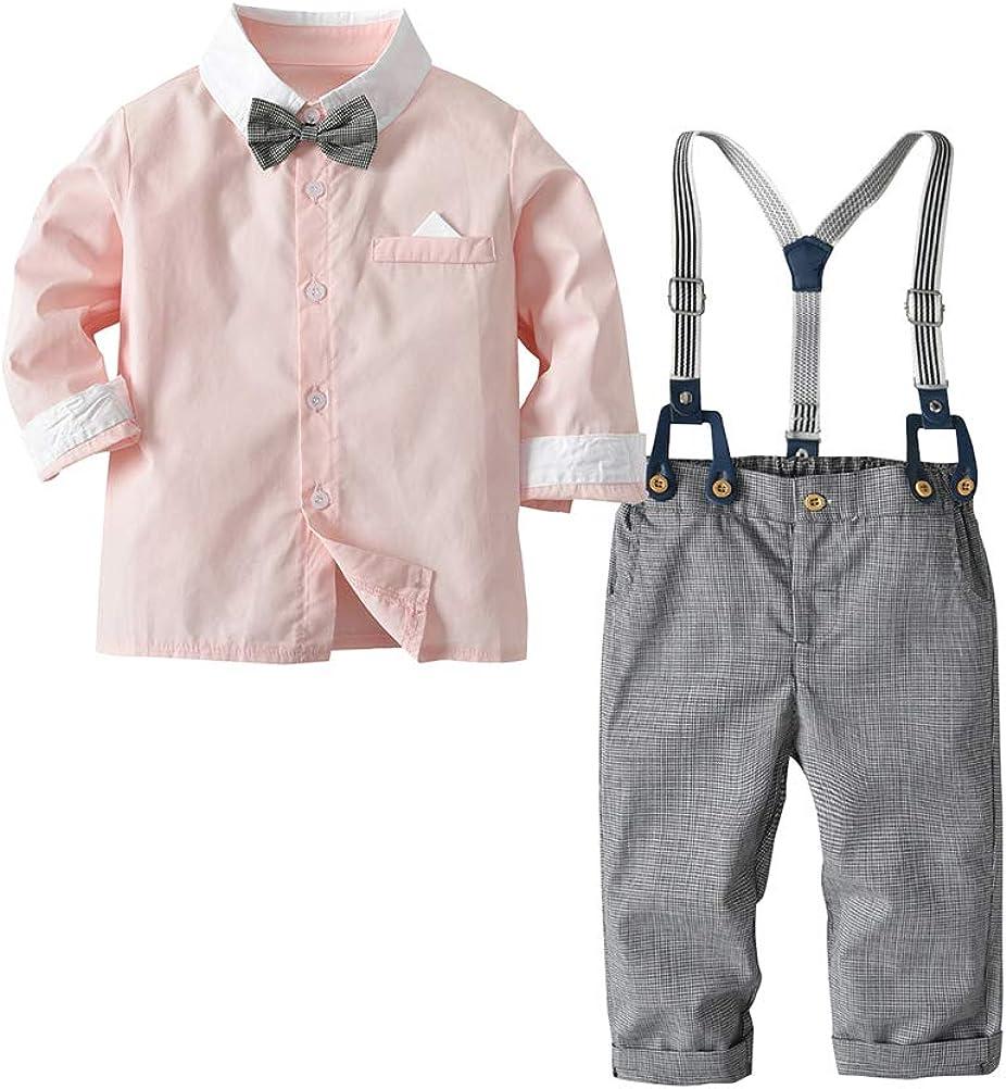 3 Pcs de Manga Larga para Niños Camisa + Pantalones + Corbata ...