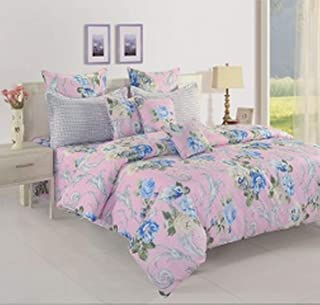 Swayam Veda Collection 160 TC 100% Cotton Fitted King Bedsheet with 2 Pillow Cover (Pink) 182 x 198 x 25 cm, Multi-Colour,...
