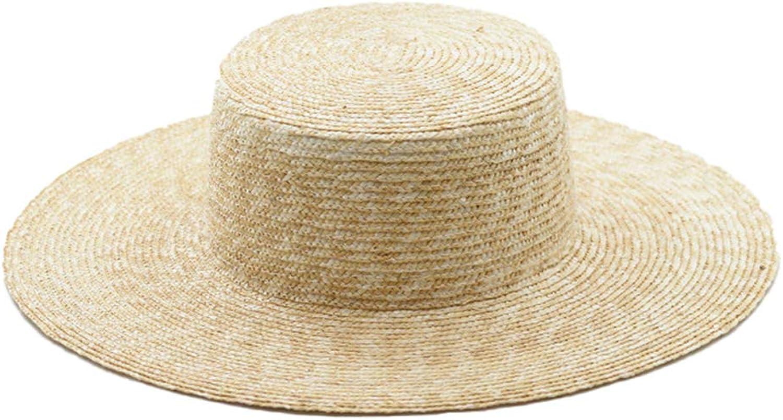 Nafanio Summer Straw Hats Large Brim Sunshade Flat Top Travel Floppy Women Sun Hat Beach Caps