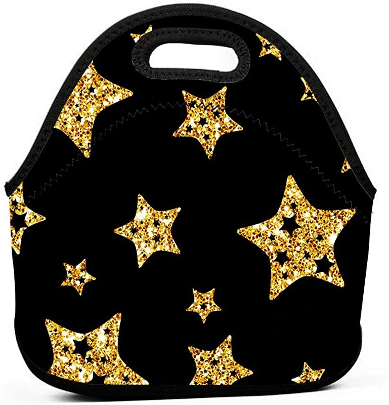 LiuKen Black And Gold Stars Printed Neoprene Lunch Bags For Women For Work Lunch Box For Kids Back To Shcool Gifts Lunch Tote Bags