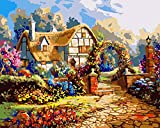 wcyljrb Pintura Digital de Bricolaje Cabaña con Techo de Paja en el jardín Pintura al óleo Digital Lienzo Pintura de Arte familiar-20 x 25 Pulgadas (sin Marco)