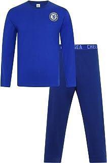 Mens Official Chelsea Football Club Blue Long CFC Pyjamas