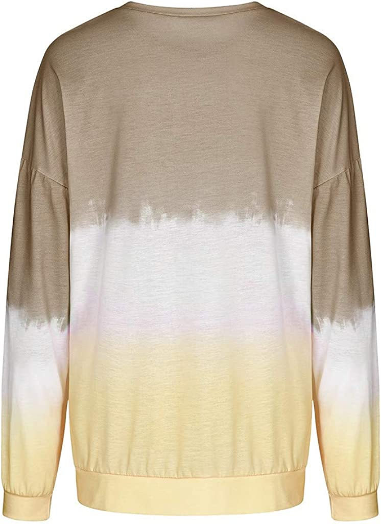 Oversized Sweatshirts for Women Tie Dye Gradient Fashion Casual Long Sleeve Pullover Sweatshirt Tops Blouse