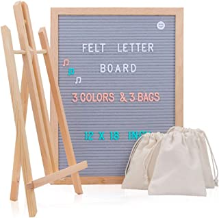 Felt Letter Board with Letters, 12 x 18 Changeable Message Board with 748 Characters, Gray Letterboard sign, Oak Wood Frame, Mounting Hook and 3 Free Storage Bag Perfect Gift