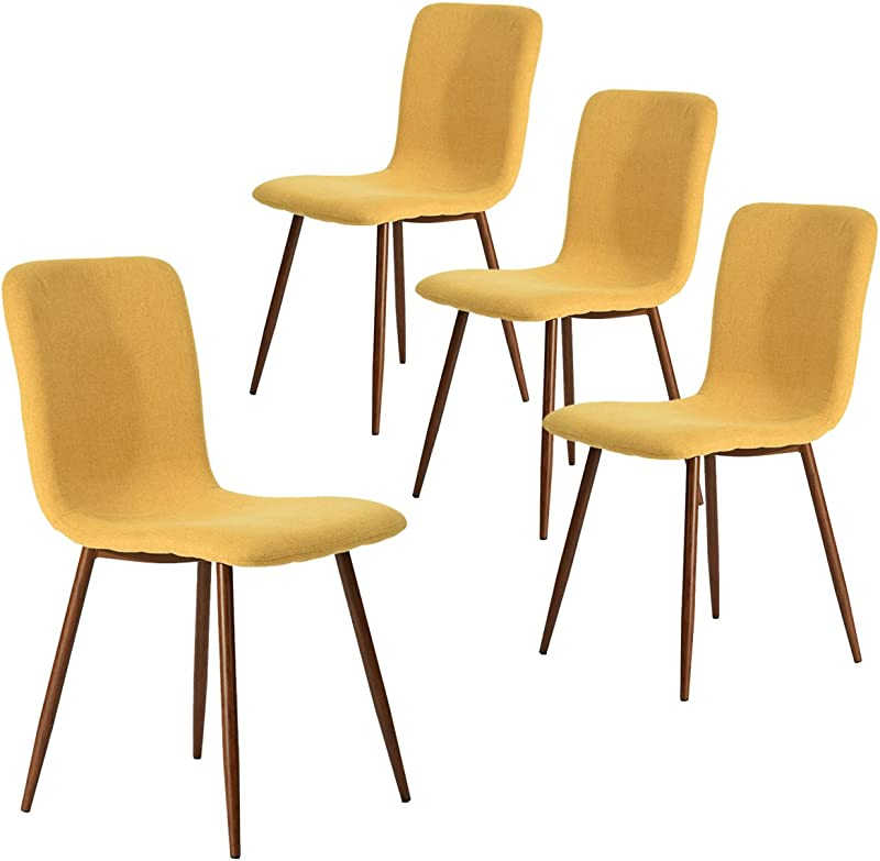 Coavas Set Of 4 Dining Chairs Fabric Cushion Kitchen Side Chairs With Sturdy Metal Legs For Dining Room Yellow