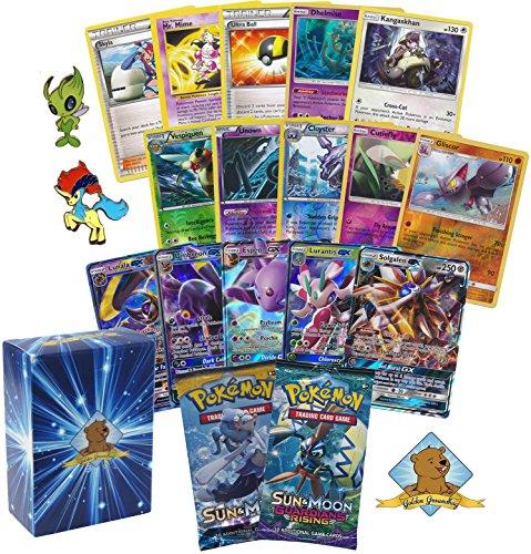Golden Groundhog TCG Deck Box Including 40 Assorted Pokemon Cards (GX...