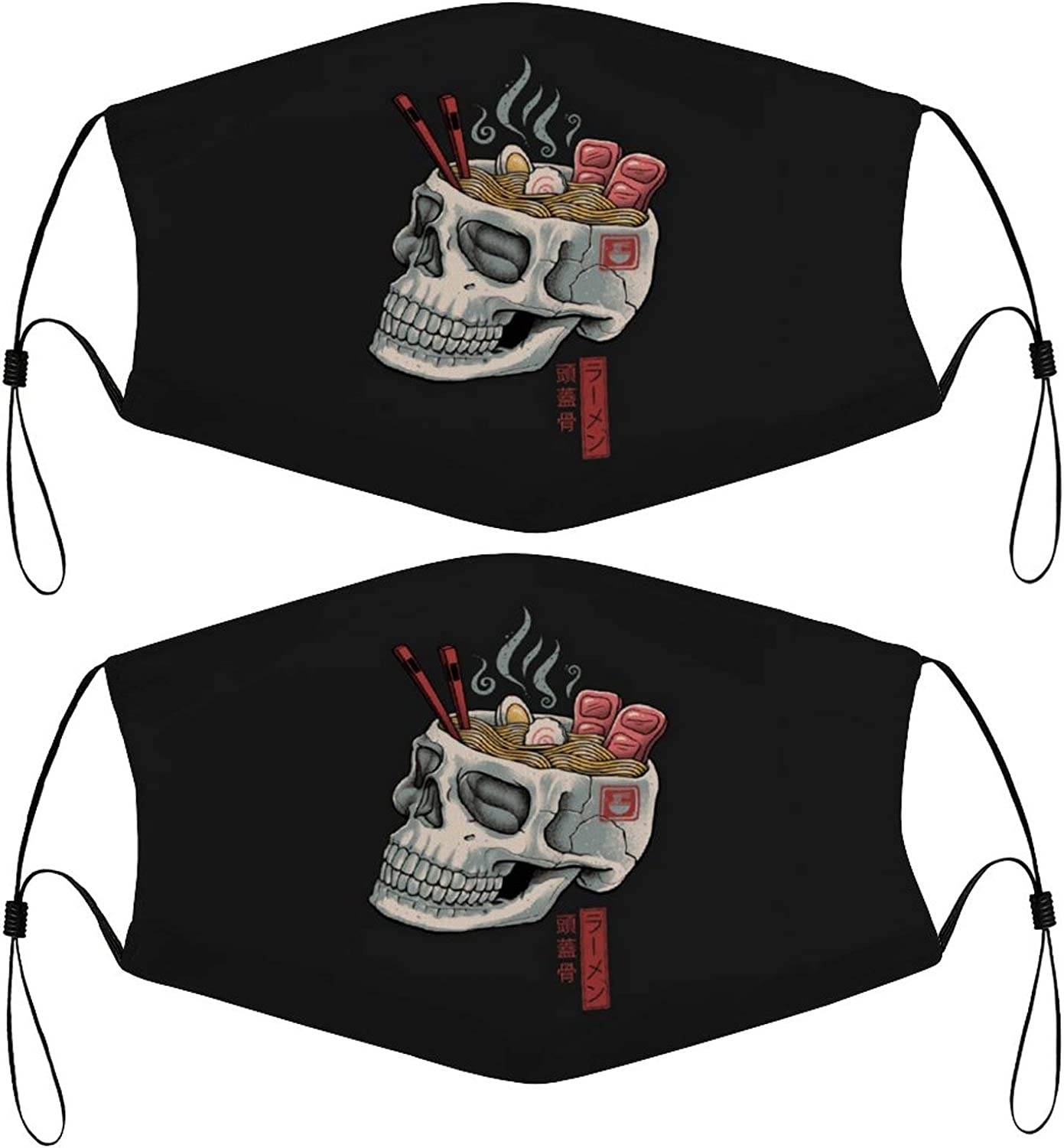 Skull Ramen Kids Face Masks Set of 2 with 4 Filters Washable Reusable Breathable Black Cloth Bandanas Scarf for Unisex Boys Girls
