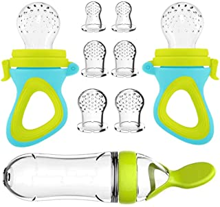 Baby Food Feeder, Fresh Food - 2 Pack Fruit Feeder Pacifier, 6 Different Sized Silicone Pacifiers | 1 Pack Baby Food Dispe...