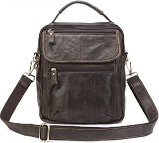Men's Accessories Vintage Crazy Horse Leather Briefcase Shoulder Satchel Shoulder Handbag for Phone Tablet Power Bank Outdoor Recreation (Color : Frosted Coffee)