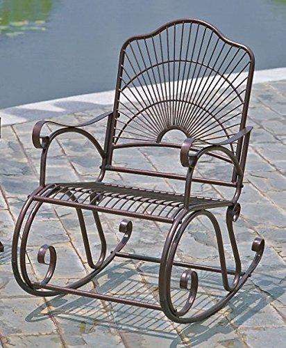 International Caravan Iron Bronze Patio Rocking Chair
