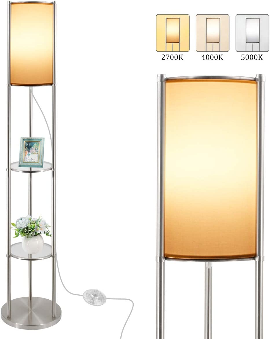 Shelf Super sale period limited Floor Lamp quality assurance for Living 3 Room 3-Tiered with LED