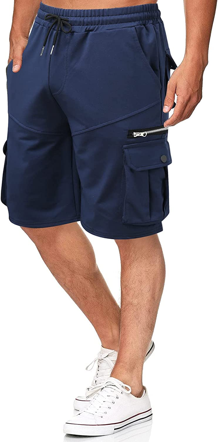 FUNEY Cargo Shorts for Men Classic Relaxed Fit Stretch Lightweight Breathable Cotton Bermuda Shorts with Multi-Pockets