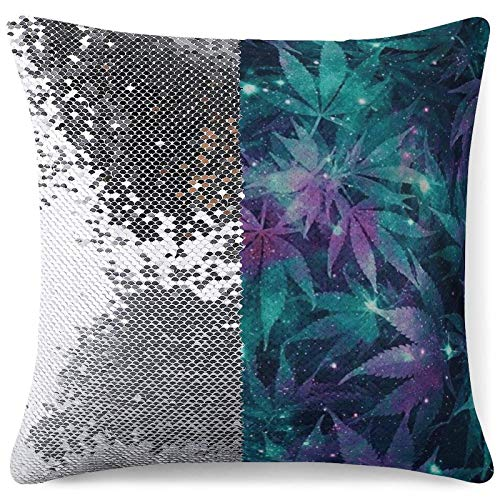 Sequin Throw Pillow Cover - Reversible Glitter Pillowcase Ganja Galaxy Decorative Cushion Pillow Cases for Birthday Wedding Xmas Gift