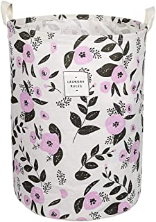UUJOLY Collapsible Laundry Basket, Laundry Hamper with Handles Waterproof Round Cotton Linen Laundry Hamper Printing Household Organizer Basket, 13.8x17.7 inches, Purple