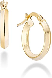 Miabella 18K Gold Over 925 Sterling Silver 2.5mm High Polished Round Tube Knife Edge Hoop Earrings for Women Teen Girls 15mm, 20mm, 30mm, 40mm, 50mm Lightweight Earrings 925 Made in Italy