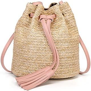 Casual Beach Bag Straw Bags Mini Shoulder Bags Cross Body Women Rattan Handbag Fringe Drawstring Bucket Bag for Summer Beach