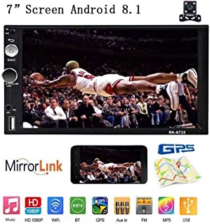 """Double Din Android 8.1 Car Stereo Receiver, 7"""" Touch Screen Quad Core 1GB RAM Car Radio Mp5 Head Unit, Support GPS Navigation WiFi Bluetooth&Android iOS Mirror Link &Sub-woofer+Rearview Camera"""