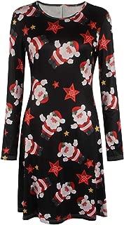 Women Christmas Halloween Print Long Sleeves A Line Swing Dress Plus Size (S-5XL)