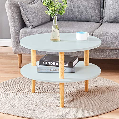 HomeSailing Small Corner Living Room Coffee End Round Side Sofa Table with Storage Shelf 2 Tiers Tea Snack Table for Girl Kids Room Office Waiting Room Reception Table