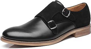 La Milano Mens Leather Double Monk Strap Loafer black Size: 5 UK
