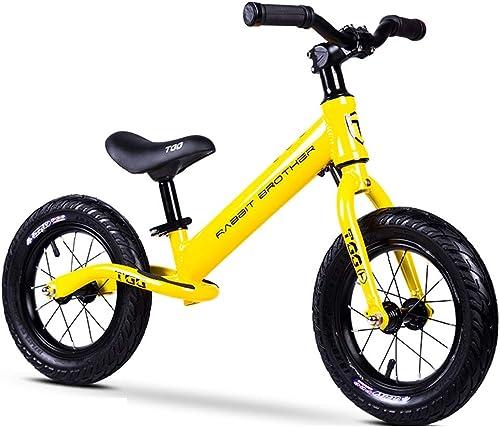 HAO-JJ Equilibrio para Niños Coche 2-8 años de Edad, Scooter de bebé de aleación de Aluminio, Cochecito de Niño, Niño sin Pedal, Bicicleta, Carro de 12 Pulgadas (Color   amarillo )