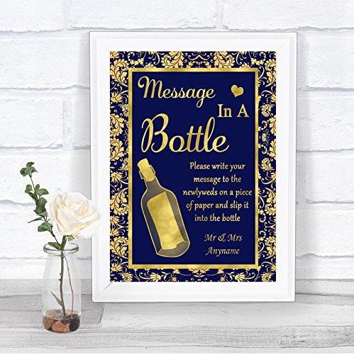 Blauwe en gouden boodschap in een fles gepersonaliseerde trouwbord afdrukken Framed Oak Small Goud