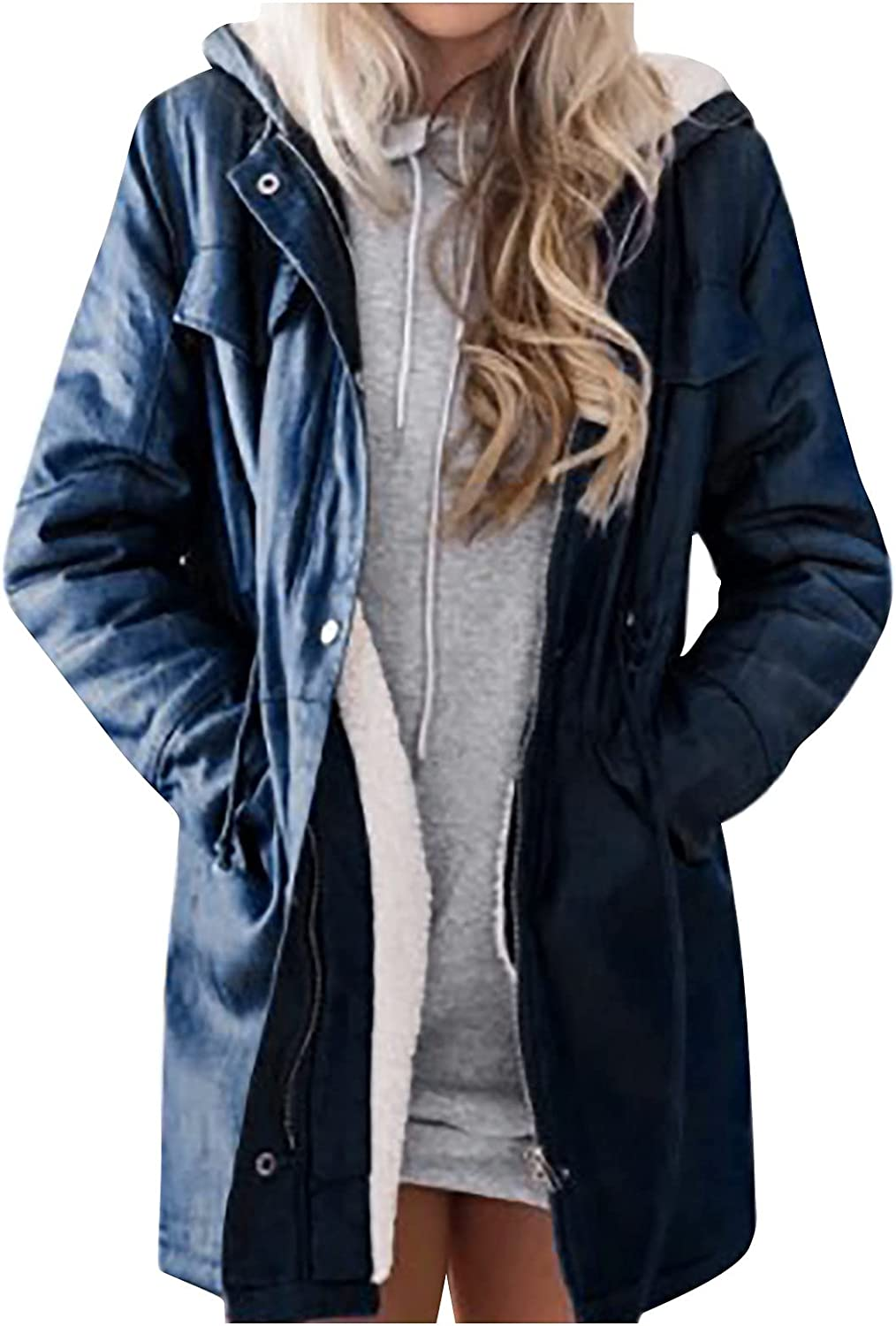 Womens Winter Coats,Womens Winter Down Jackets Hooded Warm Coats Thickened Faux Fur Lined Jacket s-3xl