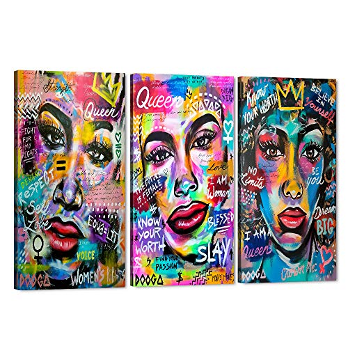 3 Pieces African American Canvas Art Print, Black Love King and Queen Wall Art Sexy Lover Paintings for Wall, Egyptian Crown Framed Poster Drawing for Master Bedroom Living Room Decor (36' Wx18 H)