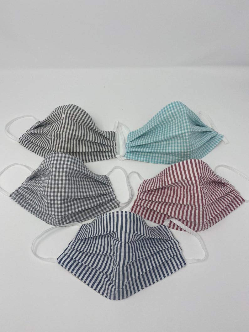 Cheap Seersucker face mask stripe adjustable two layer cotton quality Ranking TOP8