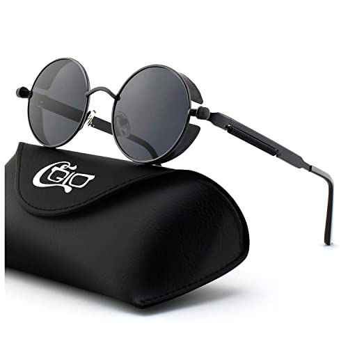 5dfd636397543 CGID E72 Retro Steampunk Style Unisex Inspired Round Metal Circle Polarized  Sunglasses for Men and Women