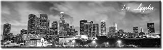 DJSYLIFE Canvas Wall Art - Black and White Skyline Wall Panoramic Los Angeles Cityscape Picture - Framed and Ready to Hang 13.8