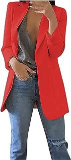 TIMEMEAN Blazers for Women Long Sleeve Open Front Office Work Business Suit Jacket