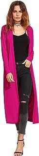 Verdusa Women's Long Sleeve Open Front Long Maxi Cardigan Longline Duster Coat