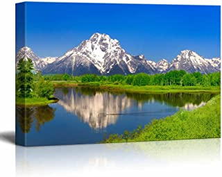 Canvas Prints Wall Art - Beautiful Scenery/Landscape Oxbow Bend at Grand Teton | Modern Home Deoration/Wall Decor Giclee Printing Wrapped Canvas Art Ready to Hang - 24