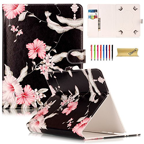 Universal 8.0 inch Tablet Case, Dteck Universal Kickstand Flip Wallet Case with Cards/Money Slots Magnetic Buckle Cover for All 7.5-8.5 inch iPad Mini, Galaxy Tab, Android IOS Tablet, Pink Flower