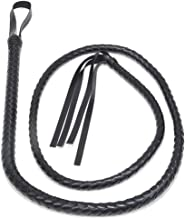 Catwoman Whip Black PU Leather Whip Braided Bullwhip for Halloween Cosplay Costume Accessories (2.1 Meter)