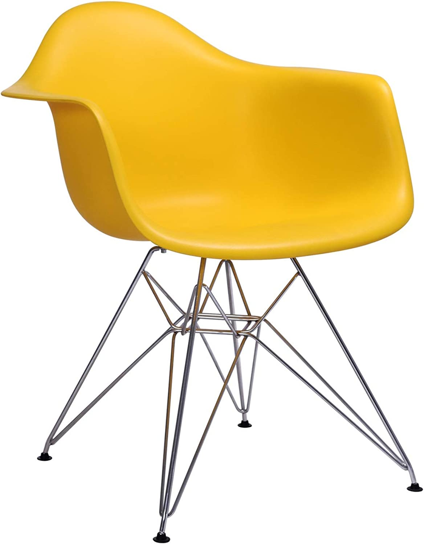 LRW European Style Plastic Chair Armrest, Leisure Home Chair, Chair, Chair, Yellow