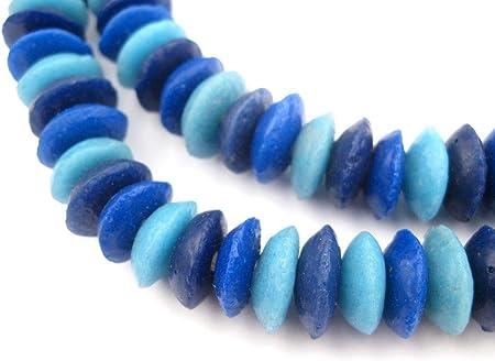 Chalcedony Blue Ashanti Glass Saucer Beads Approx 134 beads 14mm  Made in Ghana Africa Ashanti Glass Beads Handmade Ghanaian Trade Beads