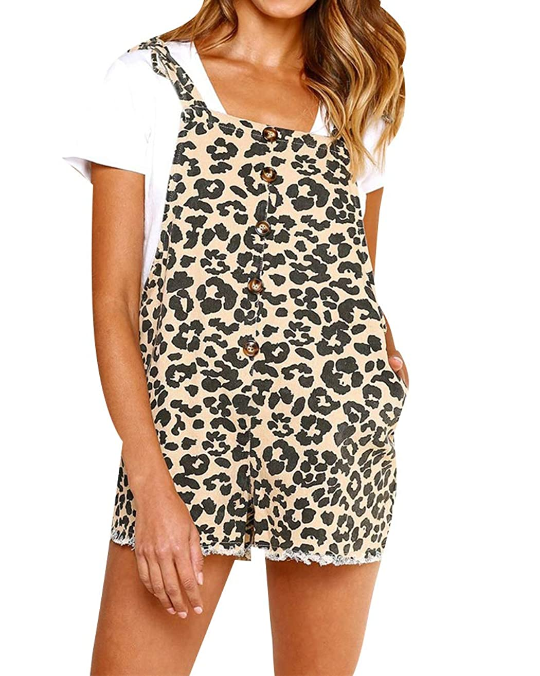Adogirl Women Leopard Bib Overalls - Casual Sleeveless Buttom Front Strap Backless Romper with Pockets