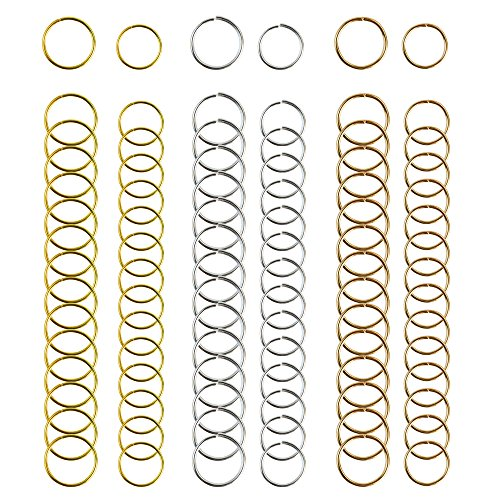 Nydotd 180 Pieces Hair Rings Braid Rings Hair Loop Clips Hair Hoops, 3 Colors, 2 Sizes Women Fashion Hip-Hop DIY Braid Rings Hair Clip Accessories for Hair and Dreadlocks