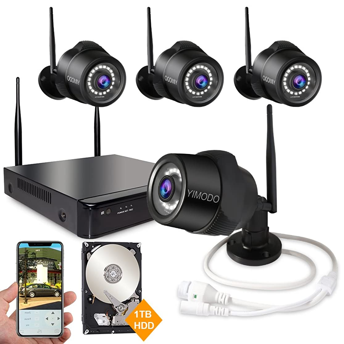 Rraycom 4CH 1080P HD NVR Wireless Security Camera System,4PC 2.0MP Weatherproof Indoor/Outdoor Survillance Cameras with 115ft Night Vision,Support Smartphone Remote View with 1TB Hard Drive aqrykzxe1