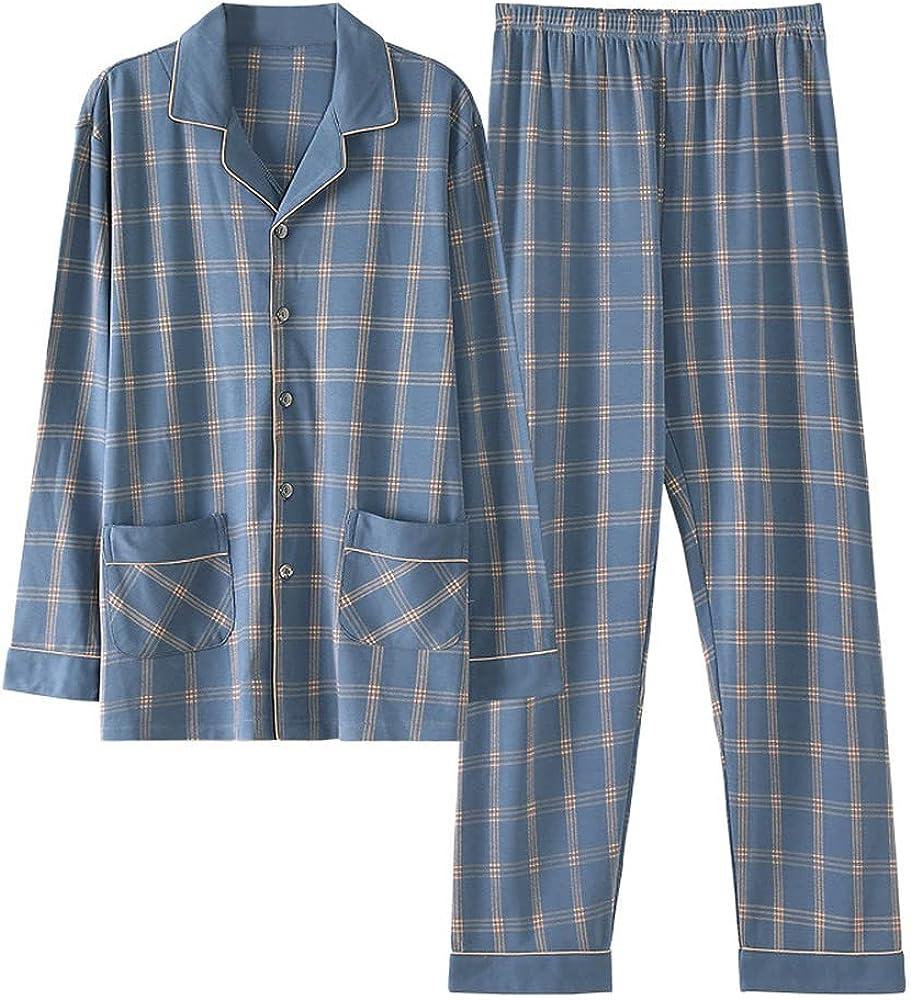 GUBIDIAO Men's Cotton Pajama Sets Nightwear Button Down Sleep Top and Pants Nightie Sleepwear Lounge Sets