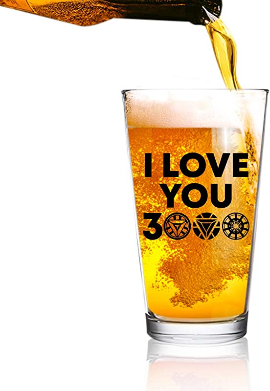 I Love You 3000 Funny Beer Glass 16 Oz Birthday Present For Dad Best Dad Ever Glass For Dad Step Dad New Dad Or Grandpa Daddy Gifts From Daughter Son Fathers Day Gift