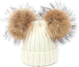 GESDY Baby Boys Girls Caps Scarf Set Warm Knit Hats Raccoon Fur Pompom Bobble Caps(1-6Years)