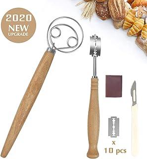 Juego de batidor de masa danesa, de acero inoxidable de calidad premium con 10 cuchillas de afeitar reemplazables y funda protectora de cuero para panaderos, cocina y pan casero artesanal