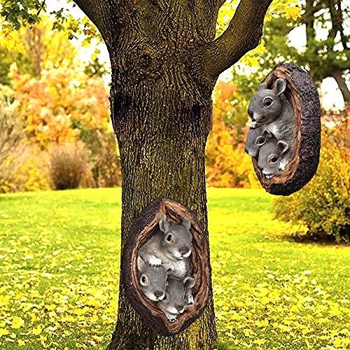 PEIRUK Decoración de Caras de árboles al Aire Libre, decoración de Montaje en Pared de árbol de Ardilla de Dibujos Animados, Escultura de Pared de poliresina para abrazar árboles de Animales c
