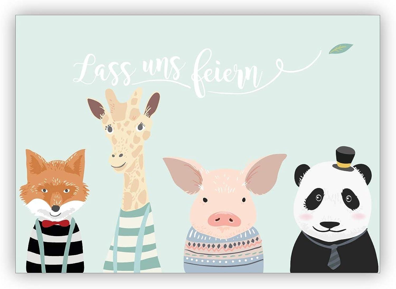 16er Karten Set Set Set privat & business  Kindergeburtstag Einladungskarte mit süßen Tieren, türkis für Jungs & Bestee Freunde  Lass uns feiern B07PV24HQF   Vorzüglich  c93b99