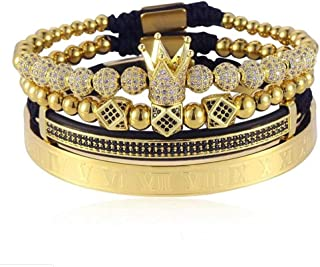 Imperial Crown King 18K Gold CZ Beads Bracelet Luxury...